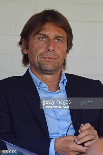 Antonio Conte manager of Chelsea during the Premier League 2 match between Chelsea and Everton on August 25 2017 in Aldershot England