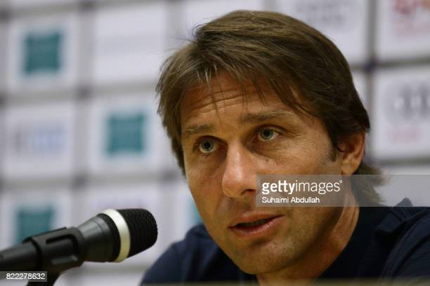 Antonio Conte manager of Chelsea FC speaks during the post match press conference during the International Champions Cup match between Chelsea FC and...
