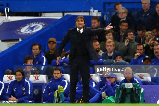 Antonio Conte Manager of Chelsea gives his team instructions during the Premier League match between Chelsea and Manchester City at Stamford Bridge...