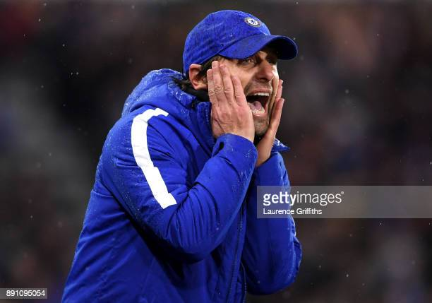 Antonio Conte Manager of Chelsea gives his team instructions during the Premier League match between Huddersfield Town and Chelsea at John Smith's...