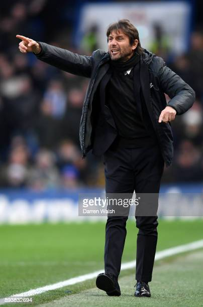 Antonio Conte Manager of Chelsea gives instruction to his team during the Premier League match between Chelsea and Southampton at Stamford Bridge on...