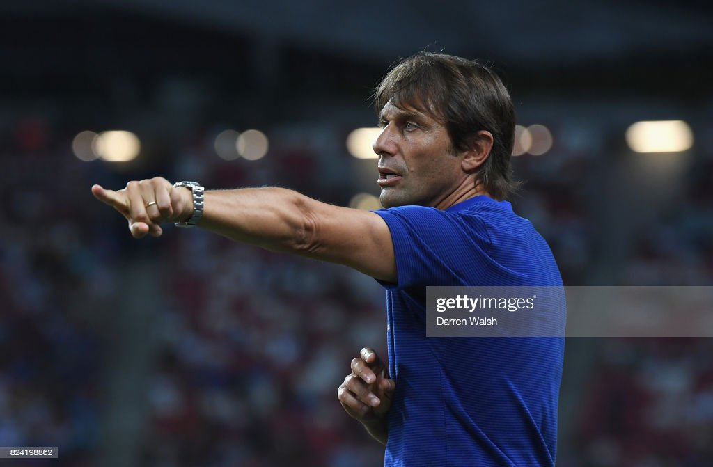 Antonio Conte, Manager of Chelsea gives instructions during the International Champions Cup match between FC Internazionale and Chelsea FC at National Stadium on July 29, 2017 in Singapore.