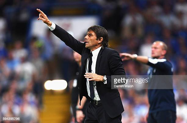 Antonio Conte Manager of Chelsea gives instructions during the EFL Cup second round match between Chelsea and Bristol Rovers at Stamford Bridge on...