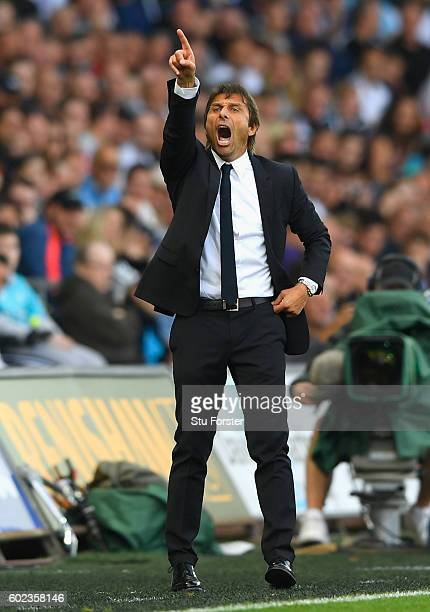 Antonio Conte manager of Chelsea gives instructions during the Premier League match between Swansea City and Chelsea at Liberty Stadium on September...