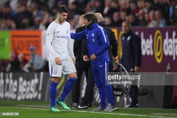 Antonio Conte Manager of Chelsea greets Alvaro Morata of Chelsea as he is substituted off during the Premier League match between Burnley and Chelsea...