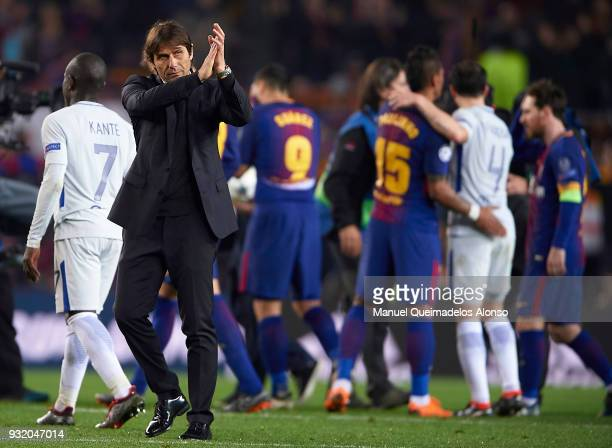 Antonio Conte Manager of Chelsea greets the fans after the UEFA Champions League Round of 16 Second Leg match between FC Barcelona and Chelsea FC at...