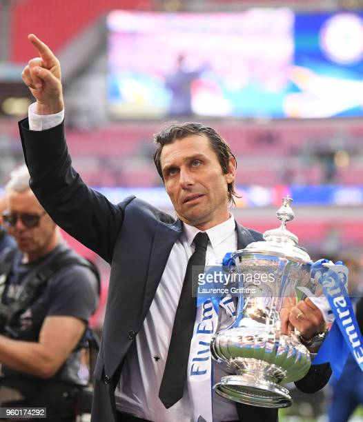 Antonio Conte Manager of Chelsea holds the Emirates FA Cup trophy following his side's win during The Emirates FA Cup Final between Chelsea and...