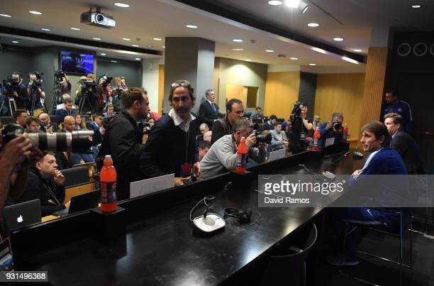 Antonio Conte Manager of Chelsea is photographed during a Chelsea press conference on the eve of their UEFA Champions League round of 16 match...