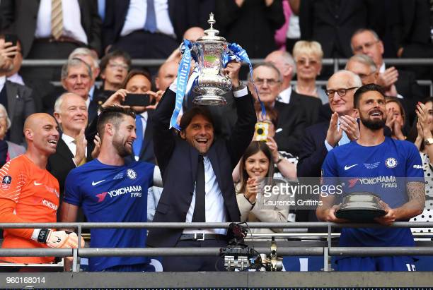 Antonio Conte Manager of Chelsea lifts the Emirates FA Cup Trophy following his sides victory in The Emirates FA Cup Final between Chelsea and...