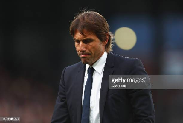 Antonio Conte Manager of Chelsea looks dejected after the Premier League match between Crystal Palace and Chelsea at Selhurst Park on October 14 2017...