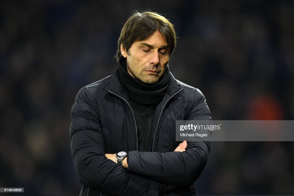 Antonio Conte, Manager of Chelsea looks dejected during the Premier League match between Watford and Chelsea at Vicarage Road on February 5, 2018 in Watford, England.