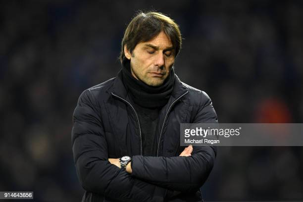 Antonio Conte Manager of Chelsea looks dejected during the Premier League match between Watford and Chelsea at Vicarage Road on February 5 2018 in...
