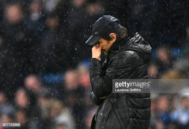 Antonio Conte Manager of Chelsea looks dejected during the Premier League match between Manchester City and Chelsea at Etihad Stadium on March 4 2018...