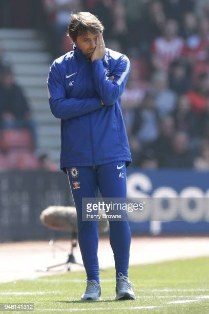 Antonio Conte Manager of Chelsea looks dejected during the Premier League match between Southampton and Chelsea at St Mary's Stadium on April 14 2018...