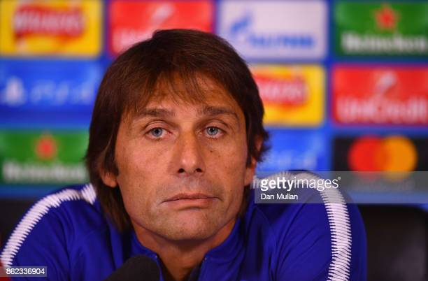 Antonio Conte Manager of Chelsea looks during a Chelsea press conference on the eve of their UEFA Champions League match against AS Roma at Chelsea...