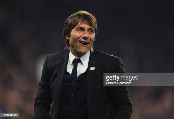 Antonio Conte Manager of Chelsea looks on after the Premier League match between Chelsea and Watford at Stamford Bridge on May 15 2017 in London...