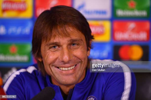 Antonio Conte Manager of Chelsea looks on during a Chelsea press conference on the eve of their UEFA Champions League match against AS Roma at...