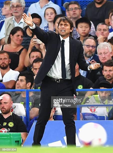 Antonio Conte Manager of Chelsea looks on during the EFL Cup second round match between Chelsea and Bristol Rovers at Stamford Bridge on August 23...