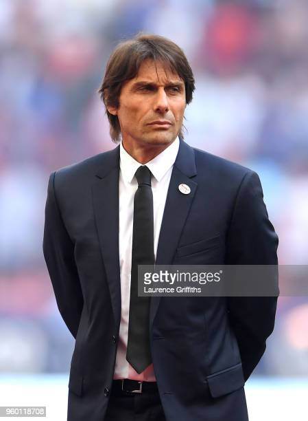 Antonio Conte Manager of Chelsea looks on prior to The Emirates FA Cup Final between Chelsea and Manchester United at Wembley Stadium on May 19 2018...