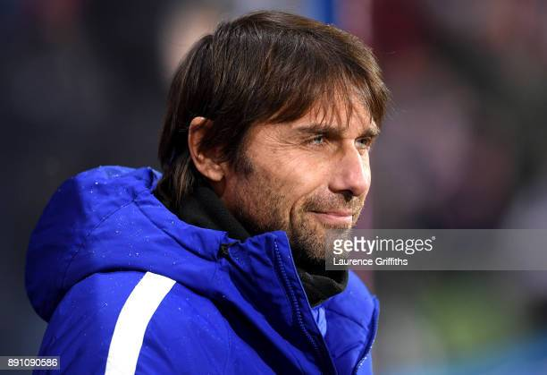 Antonio Conte Manager of Chelsea looks on prior to the Premier League match between Huddersfield Town and Chelsea at John Smith's Stadium on December...