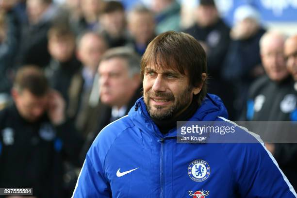 Antonio Conte Manager of Chelsea looks on prior to the Premier League match between Everton and Chelsea at Goodison Park on December 23 2017 in...