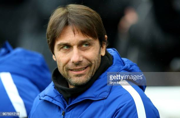 Antonio Conte Manager of Chelsea looks on prior to the Premier League match between Brighton and Hove Albion and Chelsea at Amex Stadium on January...