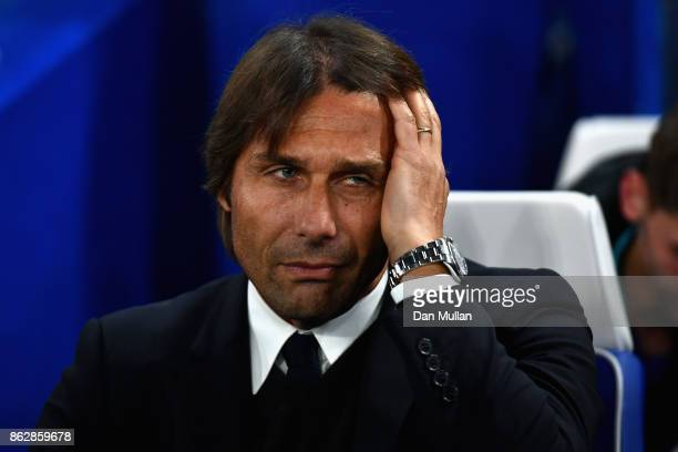 Antonio Conte Manager of Chelsea looks on prior to the UEFA Champions League group C match between Chelsea FC and AS Roma at Stamford Bridge on...