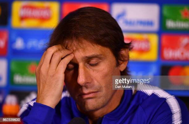 Antonio Conte Manager of Chelsea looks thoughtful during a Chelsea press conference on the eve of their UEFA Champions League match against AS Roma...