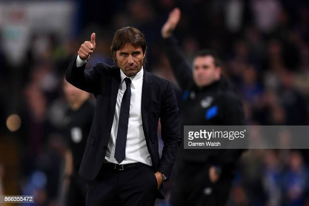 Antonio Conte Manager of Chelsea reacts during the Carabao Cup Fourth Round match between Chelsea and Everton at Stamford Bridge on October 25 2017...