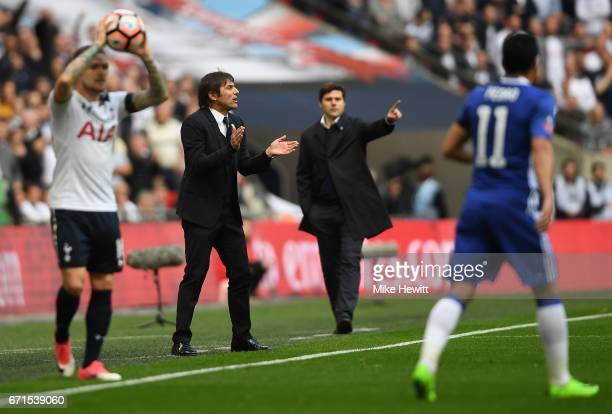 Antonio Conte Manager of Chelsea reacts during The Emirates FA Cup SemiFinal between Chelsea and Tottenham Hotspur at Wembley Stadium on April 22...