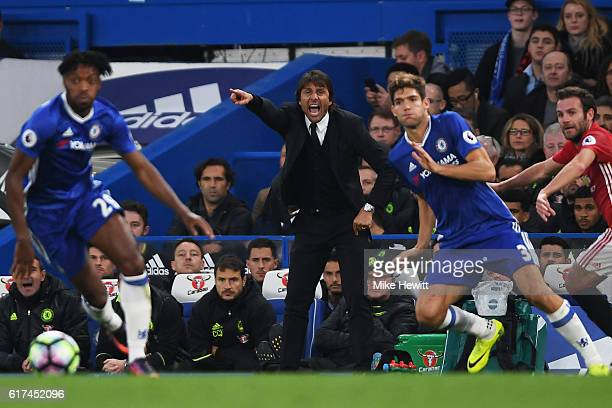 Antonio Conte Manager of Chelsea reacts during the Premier League match between Chelsea and Manchester United at Stamford Bridge on October 23 2016...