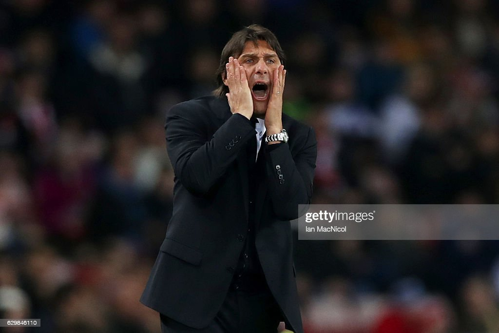 Antonio Conte, Manager of Chelsea reacts during the Premier League match between Sunderland and Chelsea at Stadium of Light on December 14, 2016 in Sunderland, England.