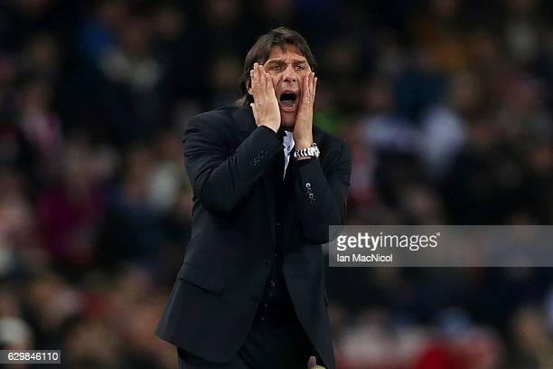 Antonio Conte Manager of Chelsea reacts during the Premier League match between Sunderland and Chelsea at Stadium of Light on December 14 2016 in...