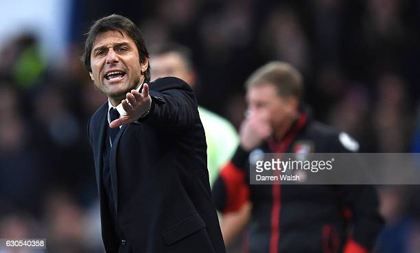Antonio Conte Manager of Chelsea reacts during the Premier League match between Chelsea and AFC Bournemouth at Stamford Bridge on December 26 2016 in...