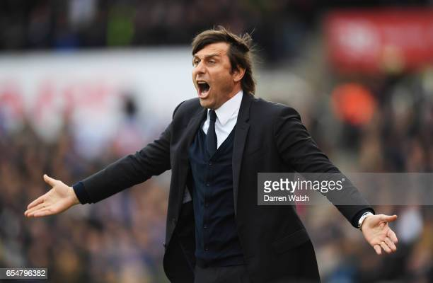 Antonio Conte manager of Chelsea reacts during the Premier League match between Stoke City and Chelsea at Bet365 Stadium on March 18 2017 in Stoke on...