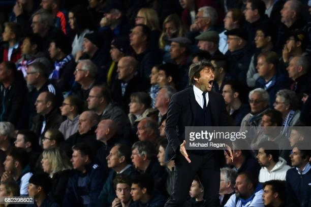 Antonio Conte Manager of Chelsea reacts during the Premier League match between West Bromwich Albion and Chelsea at The Hawthorns on May 12 2017 in...