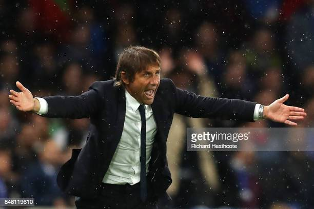 Antonio Conte Manager of Chelsea reacts during the UEFA Champions League Group C match between Chelsea FC and Qarabag FK at Stamford Bridge on...