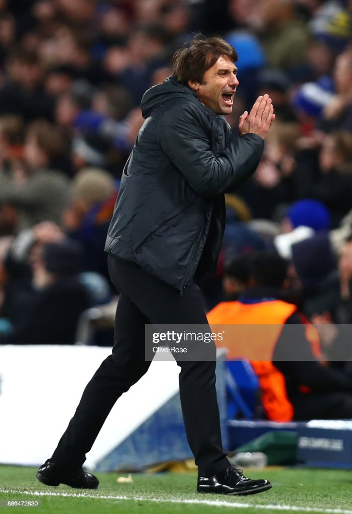 Antonio Conte, Manager of Chelsea reacts during the UEFA Champions League group C match between Chelsea FC and Atletico Madrid at Stamford Bridge on December 5, 2017 in London, United Kingdom.