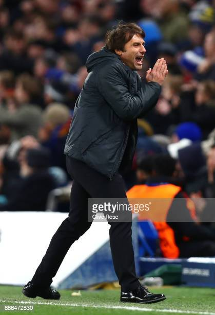 Antonio Conte Manager of Chelsea reacts during the UEFA Champions League group C match between Chelsea FC and Atletico Madrid at Stamford Bridge on...
