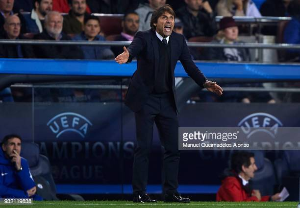 Antonio Conte Manager of Chelsea reacts during the UEFA Champions League Round of 16 Second Leg match between FC Barcelona and Chelsea FC at Camp Nou...
