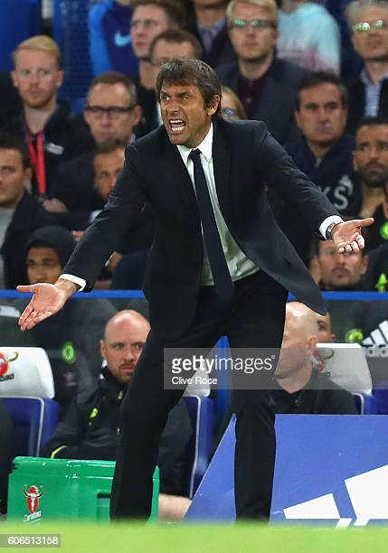 Antonio Conte Manager of Chelsea reacts from the touchline during the Premier League match between Chelsea and Liverpool at Stamford Bridge on...