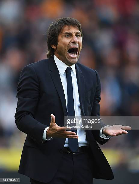 Antonio Conte Manager of Chelsea reacts to his team scoring during the Premier League match between Hull City and Chelsea at KCOM Stadium on October...