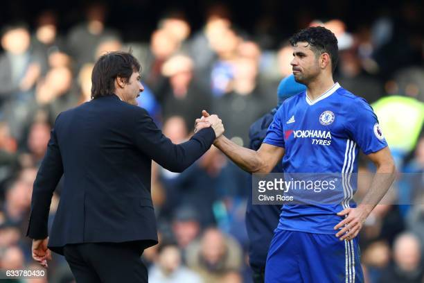 Antonio Conte manager of Chelsea shakes hands with Diego Costa of Chelsea after the Premier League match between Chelsea and Arsenal at Stamford...