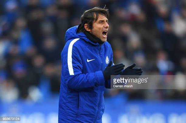 Antonio Conte manager of Chelsea shouts during The Emirates FA Cup Quarter Final match between Leicester City and Chelsea at The King Power Stadium...