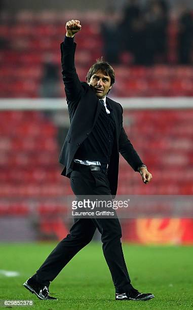 Antonio Conte Manager of Chelsea shows appreciation to the fans after the final whistle during the Premier League match between Sunderland and...