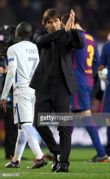 Antonio Conte Manager of Chelsea shows appreciation to the fans after the UEFA Champions League Round of 16 Second Leg match FC Barcelona and Chelsea...