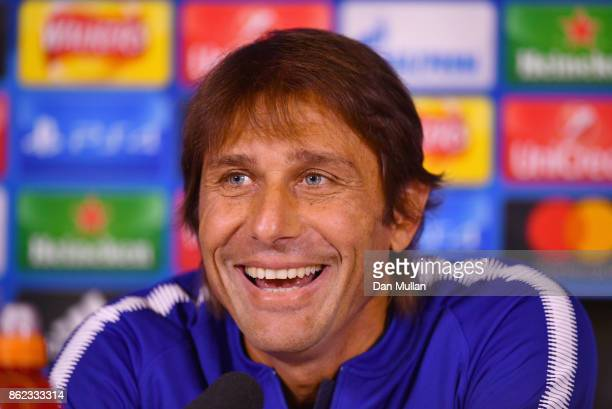 Antonio Conte Manager of Chelsea smiles during a Chelsea press conference on the eve of their UEFA Champions League match against AS Roma at Chelsea...