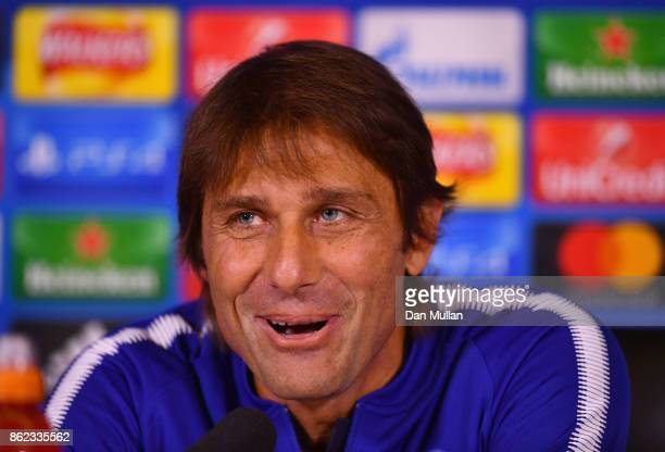 Antonio Conte Manager of Chelsea speaks during a Chelsea press conference on the eve of their UEFA Champions League match against AS Roma at Chelsea...