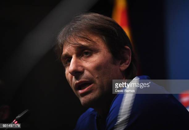 Antonio Conte Manager of Chelsea speaks during a Chelsea press conference on the eve of their UEFA Champions League round of 16 match against FC...