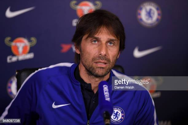 Antonio Conte manager of Chelsea speaks during a press conference at the Chelsea Training Ground on April 18 2018 in Cobham England